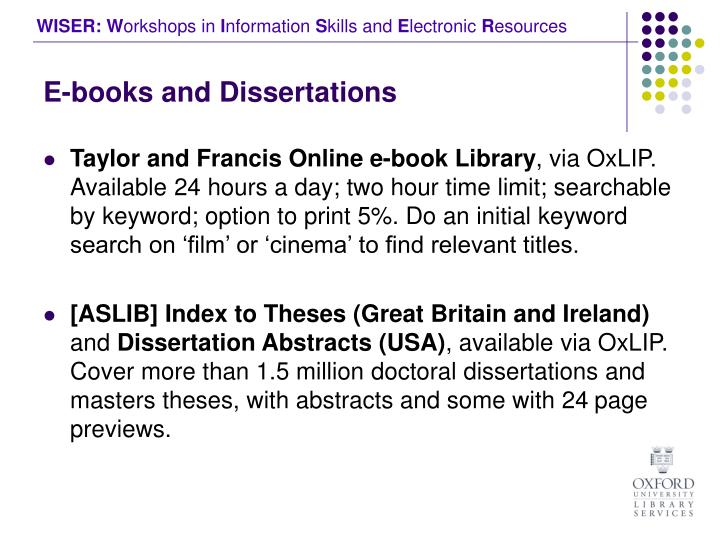 E-books and Dissertations