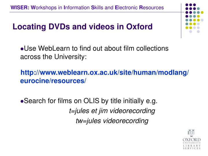 Locating dvds and videos in oxford