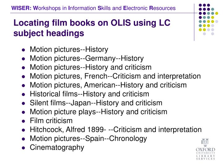 Locating film books on OLIS using LC subject headings