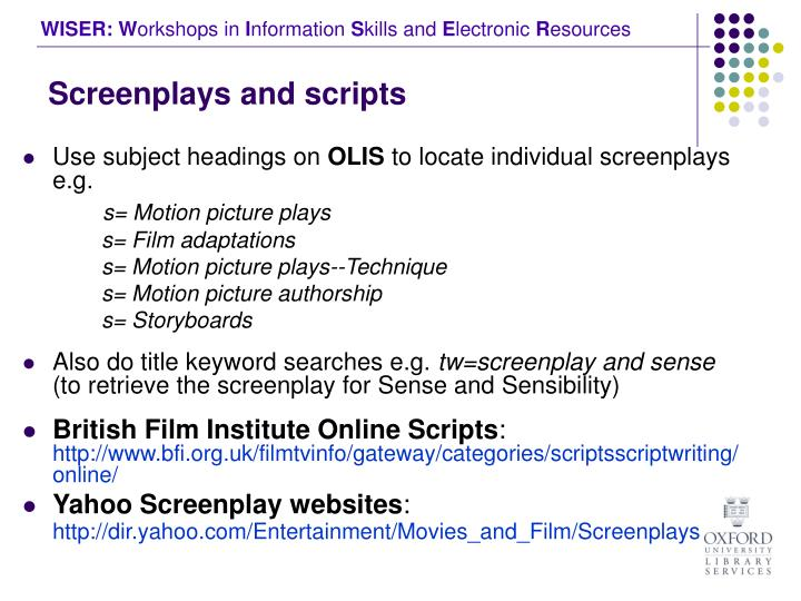 Screenplays and scripts