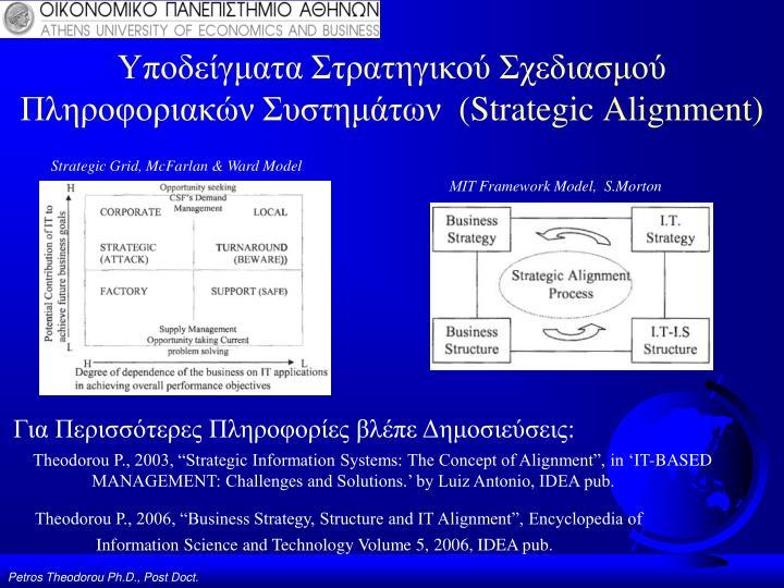 Υποδείγματα Στρατηγικού Σχεδιασμού Πληροφοριακών Συστημάτων