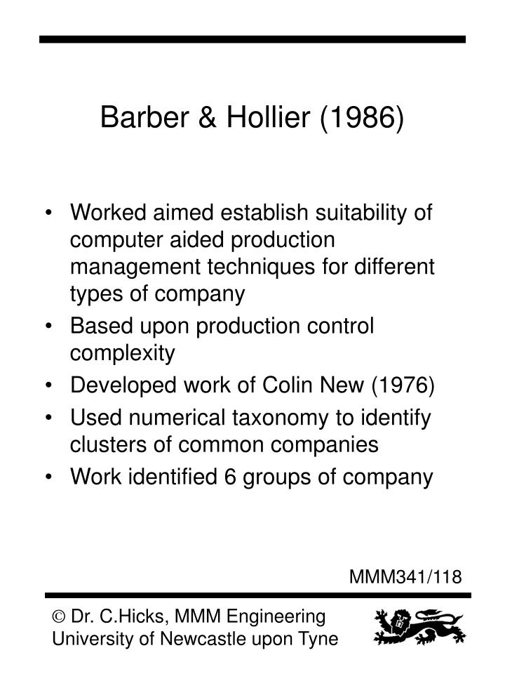 Barber & Hollier (1986)