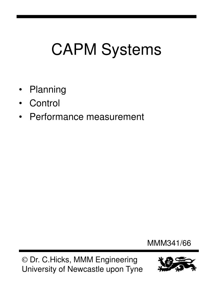 CAPM Systems