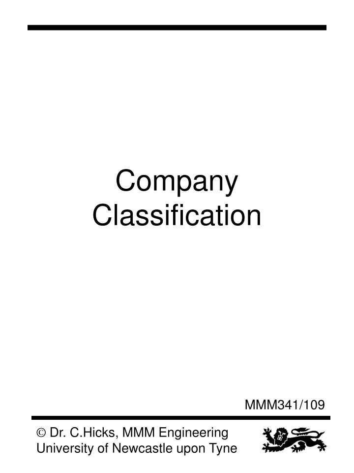 Company Classification