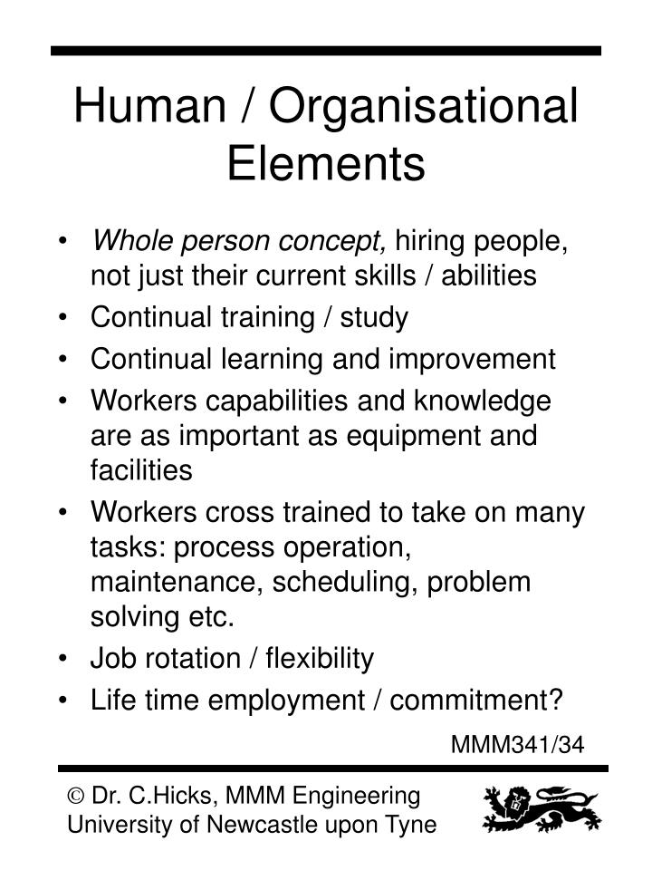 Human / Organisational Elements