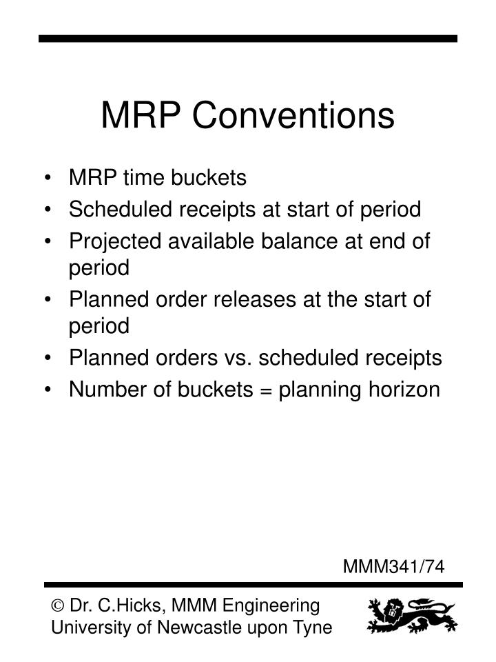 MRP Conventions