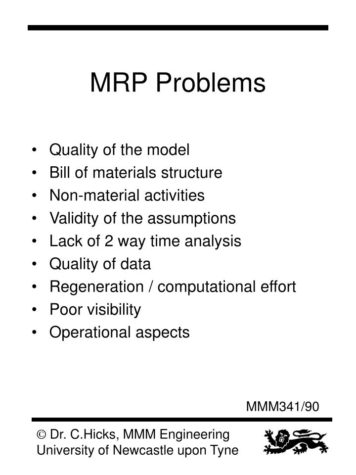 MRP Problems