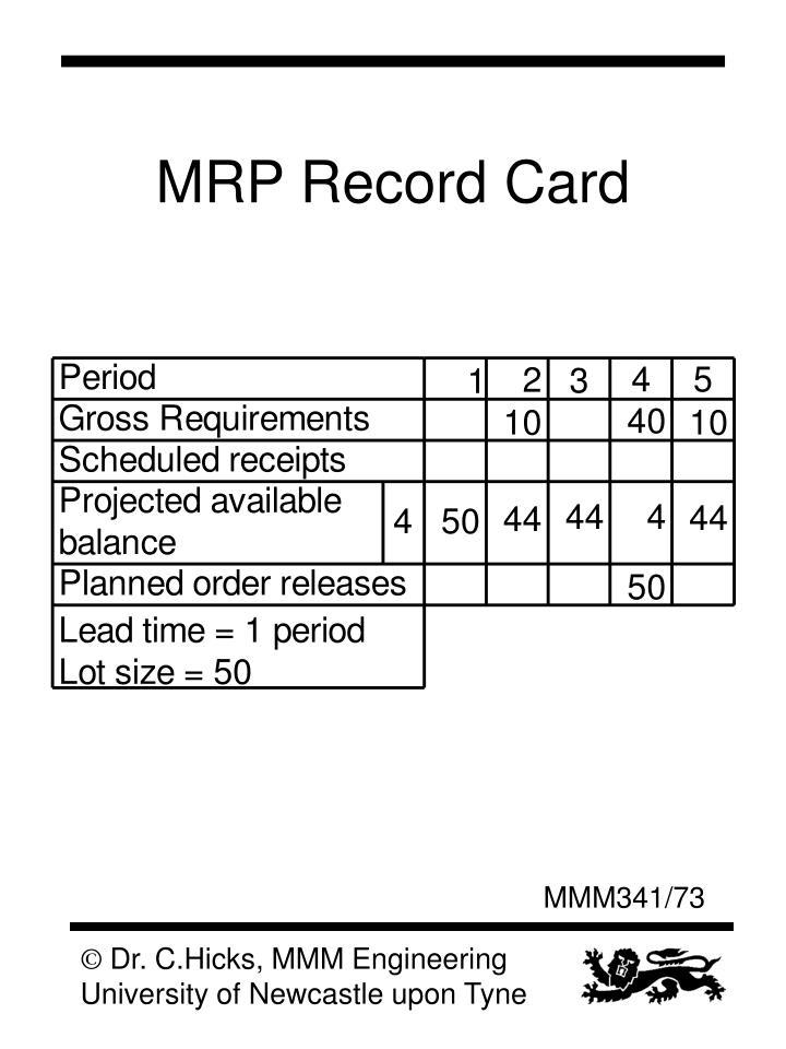 MRP Record Card