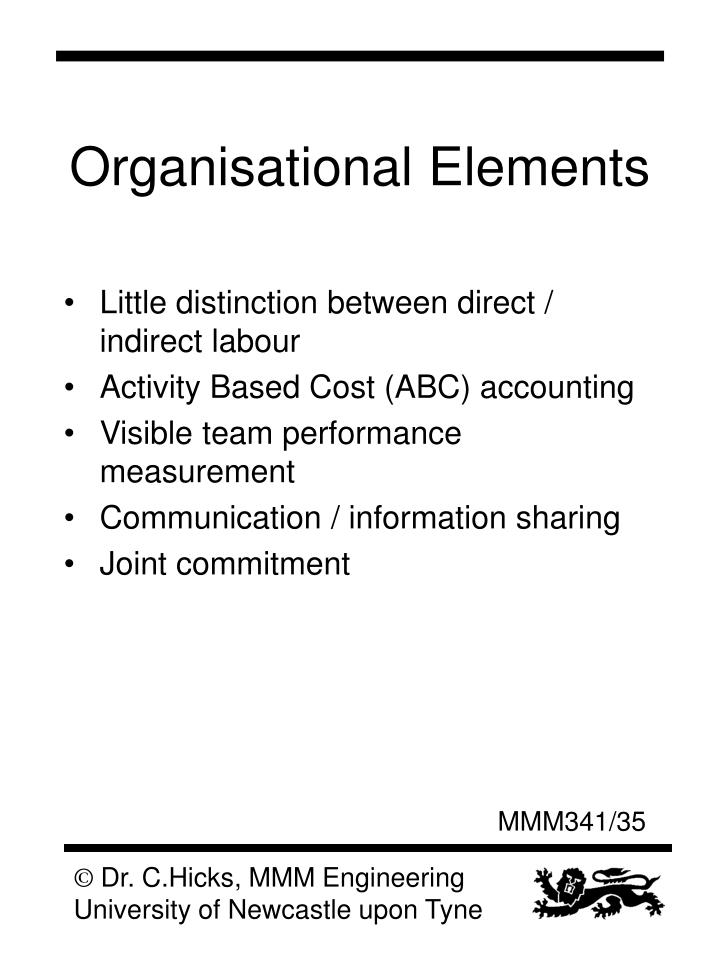 Organisational Elements