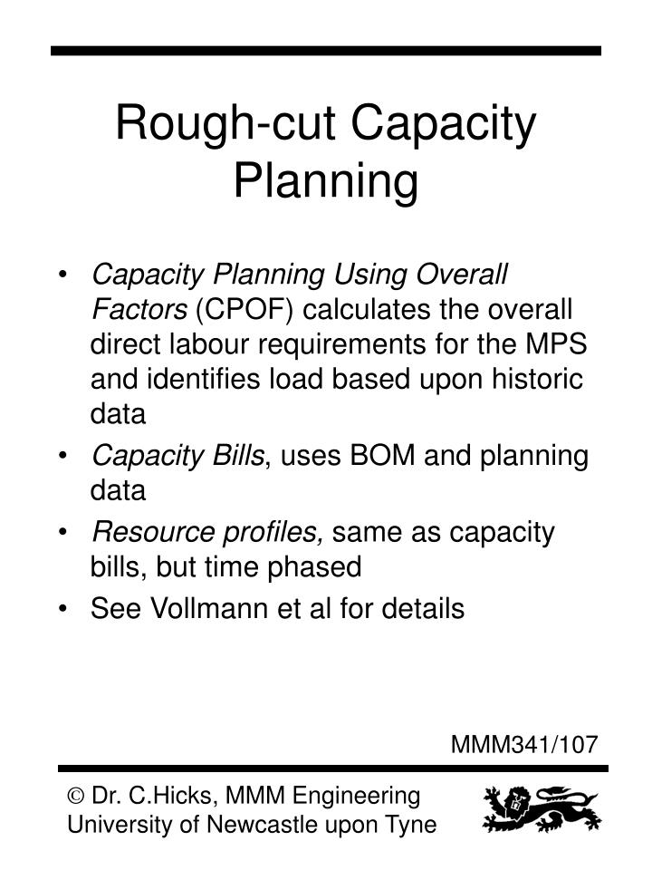 Rough-cut Capacity Planning