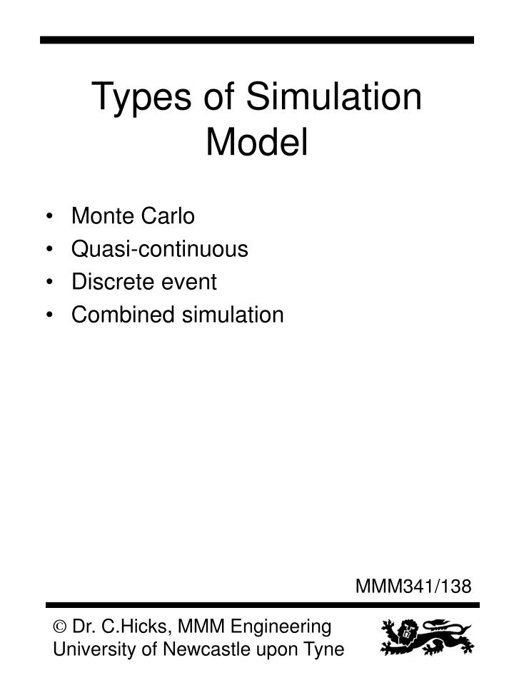 Types of Simulation Model
