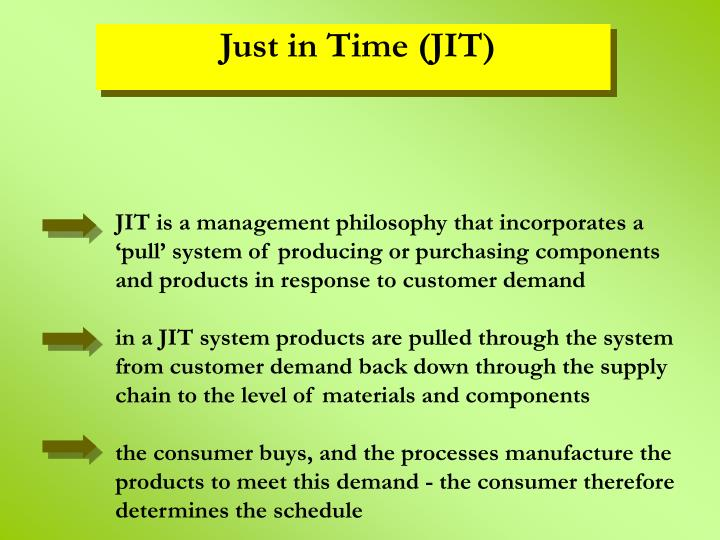 JIT is a management philosophy that incorporates a