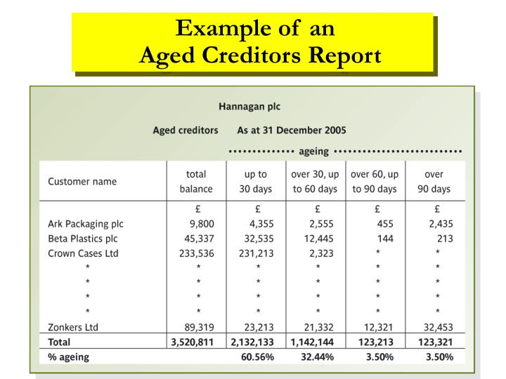 Example of an                      Aged Creditors Report