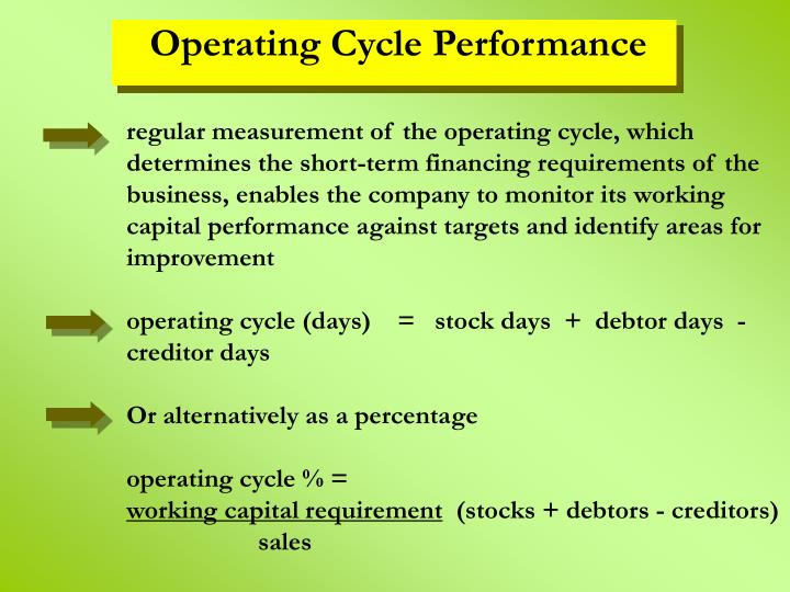 regular measurement of the operating cycle, which determines the short-term financing requirements of the business, enables the company to monitor its working capital performance against targets and identify areas for improvement
