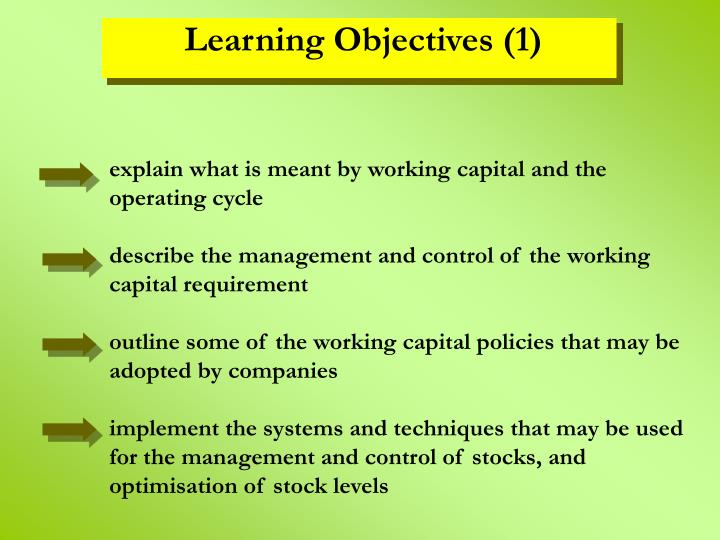 explain what is meant by working capital and the