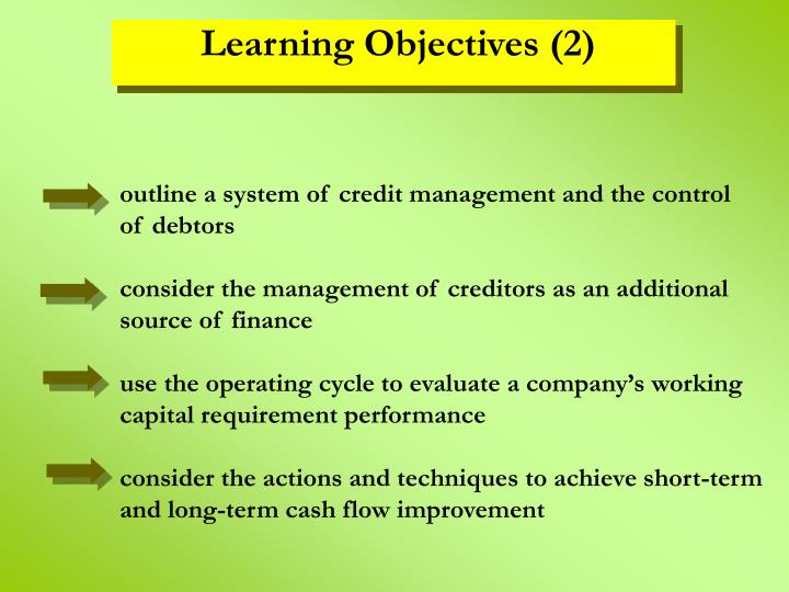 outline a system of credit management and the control