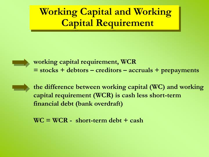 working capital requirement, WCR