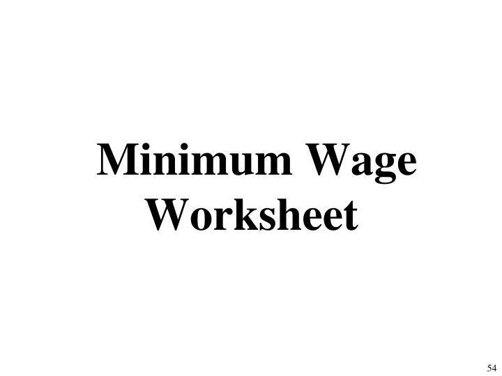 Minimum Wage Worksheet
