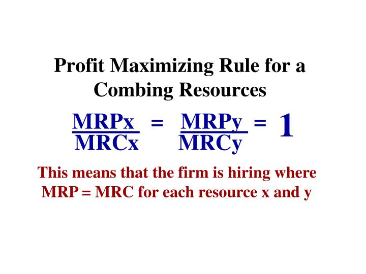 Profit Maximizing Rule for a Combing Resources