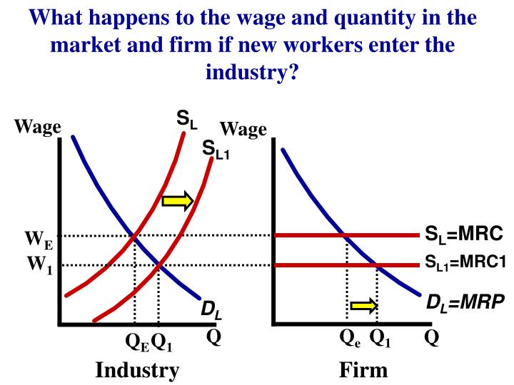 What happens to the wage and quantity in the market and firm if new workers enter the industry?