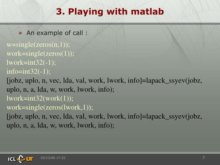 3. Playing with matlab