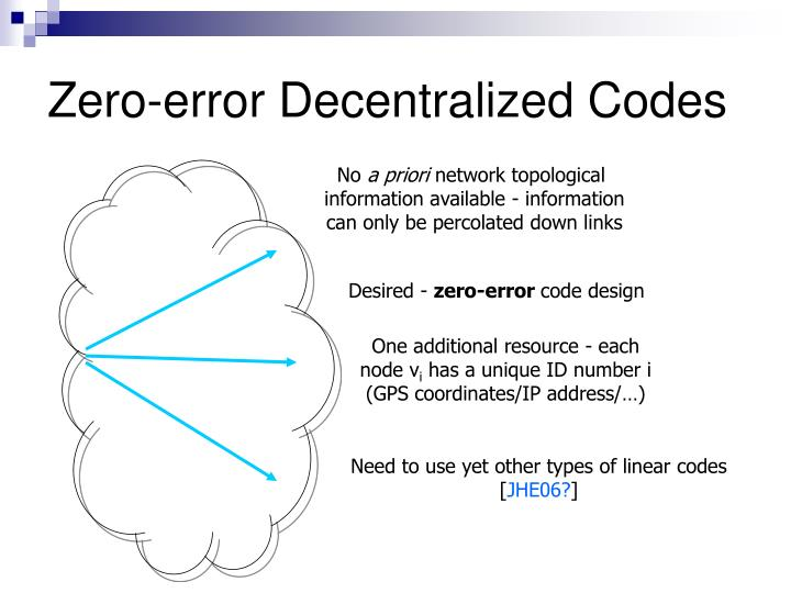 Zero-error Decentralized Codes