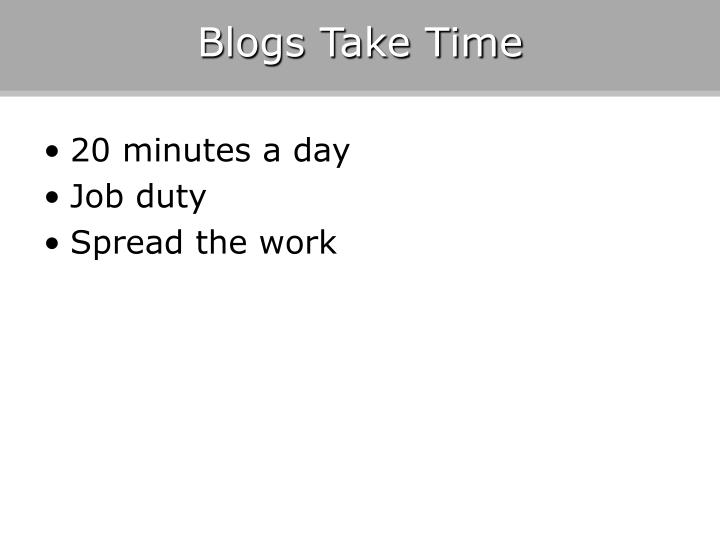 Blogs Take Time