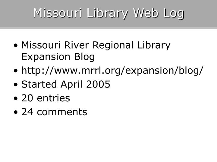 Missouri Library Web Log