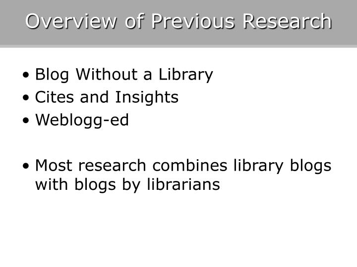 Overview of Previous Research