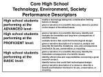 core high school technology environment society performance descriptors