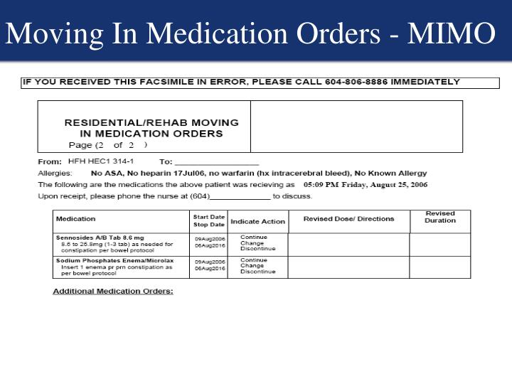 Moving In Medication Orders - MIMO