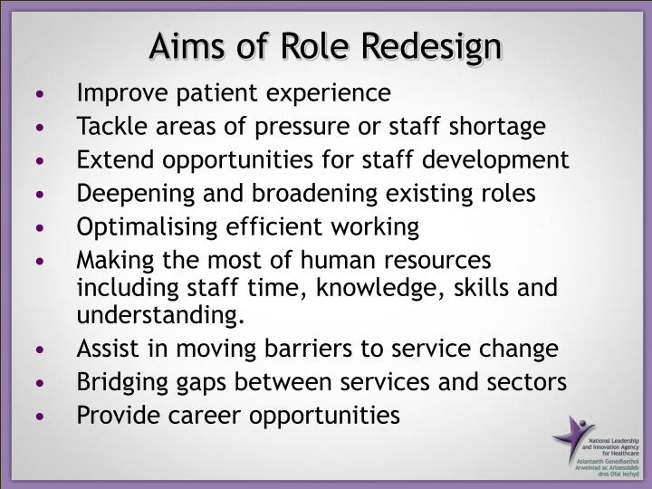 Aims of Role Redesign