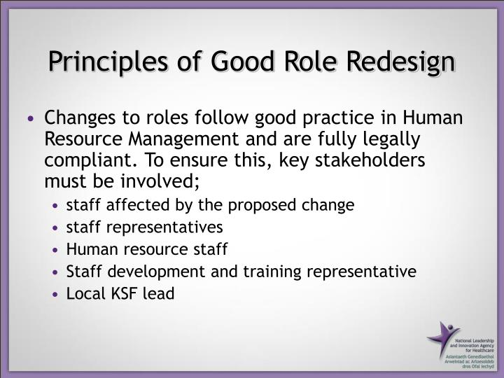 Principles of Good Role Redesign