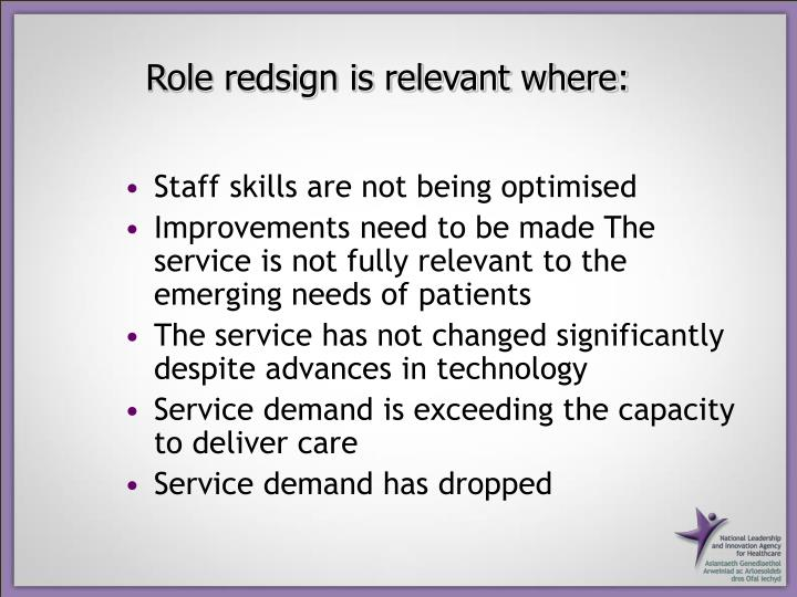 Role redsign is relevant where: