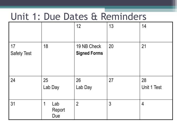 Unit 1: Due Dates & Reminders