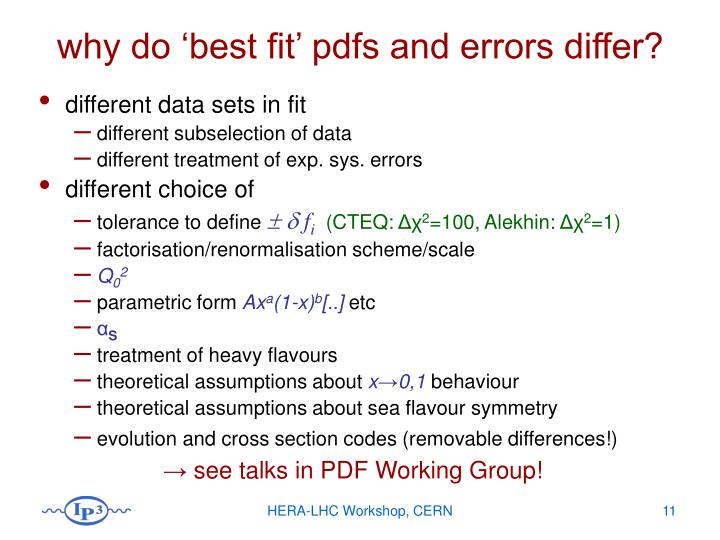 why do 'best fit' pdfs and errors differ?
