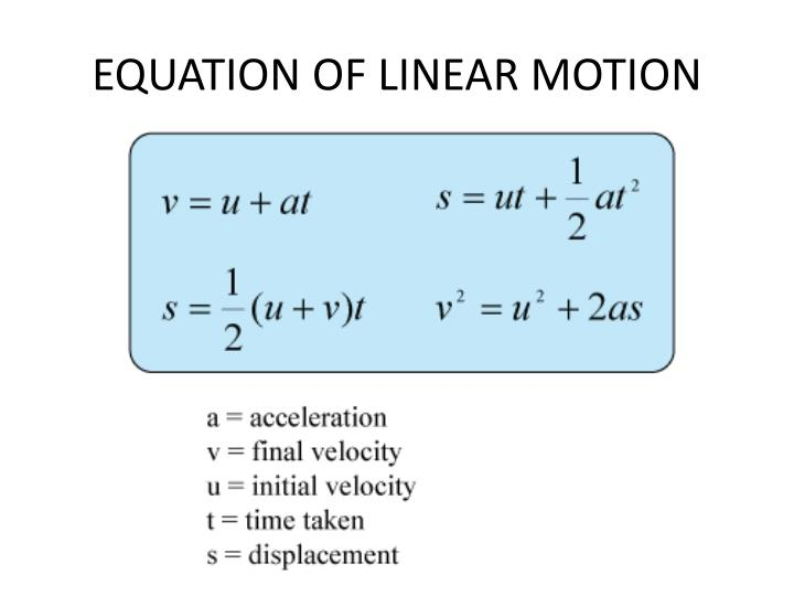 EQUATION OF LINEAR MOTION