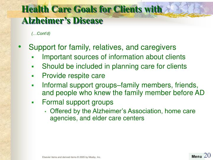Health Care Goals for Clients with Alzheimer's Disease