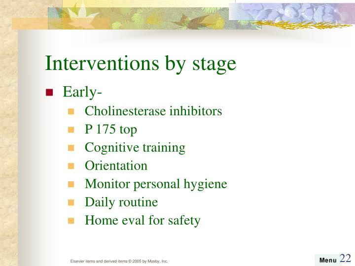 Interventions by stage