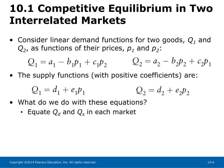 10.1 Competitive Equilibrium in Two Interrelated Markets