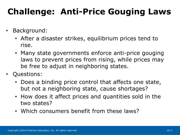 Challenge:  Anti-Price Gouging Laws