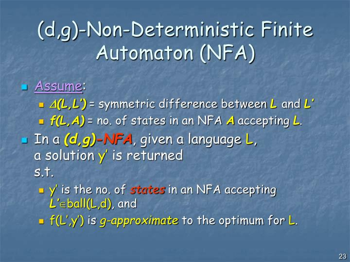 (d,g)-Non-Deterministic Finite Automaton (NFA)