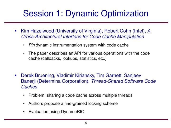 Session 1: Dynamic Optimization