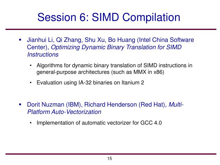 Session 6: SIMD Compilation