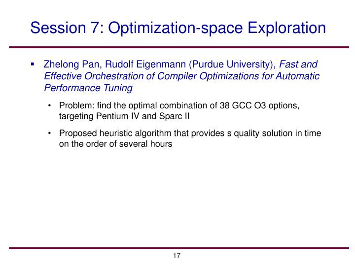 Session 7: Optimization-space Exploration
