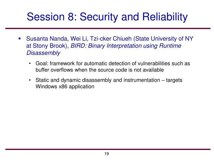 Session 8: Security and Reliability