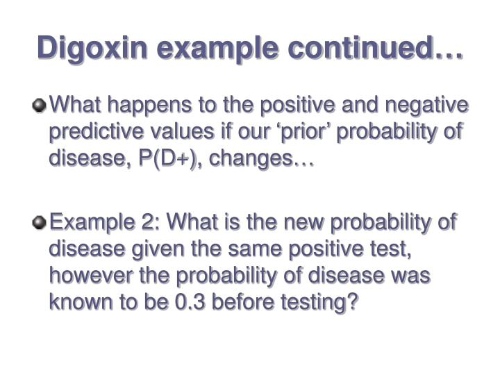 Digoxin example continued…