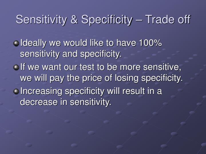 Sensitivity & Specificity – Trade off