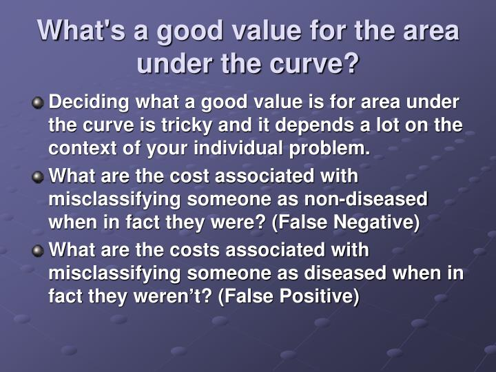 What's a good value for the area under the curve?