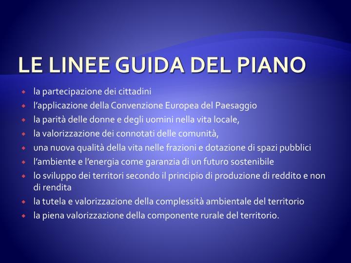 LE LINEE GUIDA DEL PIANO
